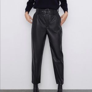 Zara faux leather belted pleated pants